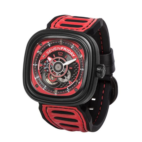 Jam Tangan Sevenfriday Seri P3B-06 Automatic Red Leather