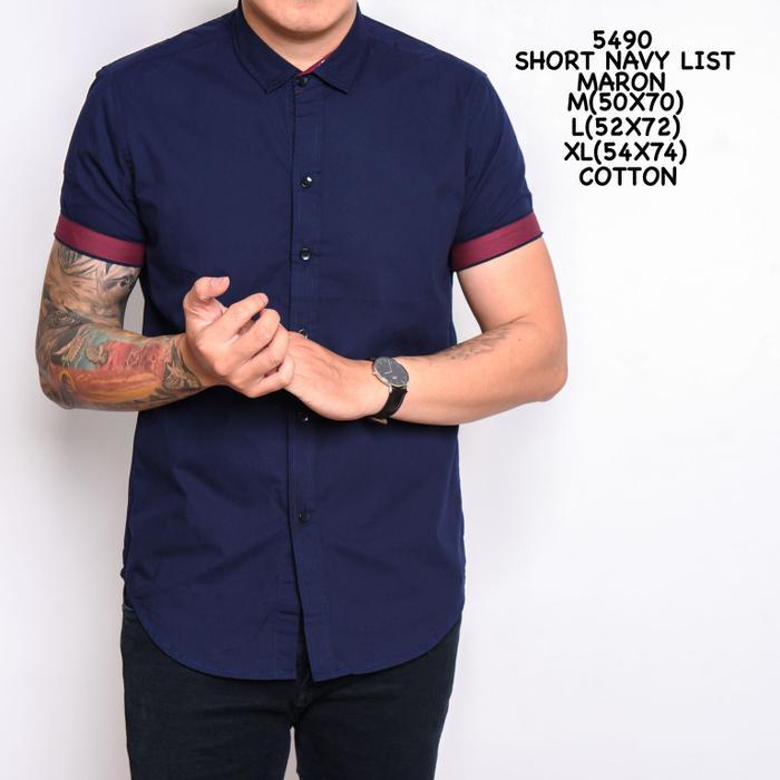 Baju Kemeja Baju Batik  Polos Lengan Pendek Warna Biru Dongker Berkualitas Terbaru Blackcurren38
