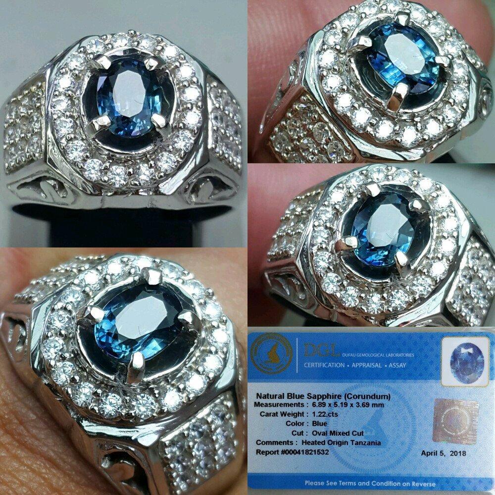 Harga New Promo Cincin Pria Stainless Steel Square 4ct Blue Sapphire Ring Batu Natural Heat Only 122ct Memo Dgl