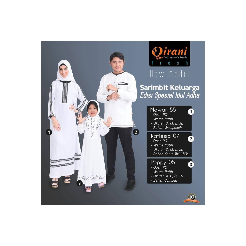 Sarimbit Putih - Qirani Fresh - Baju Muslim Keluarga - Seragam Muslim