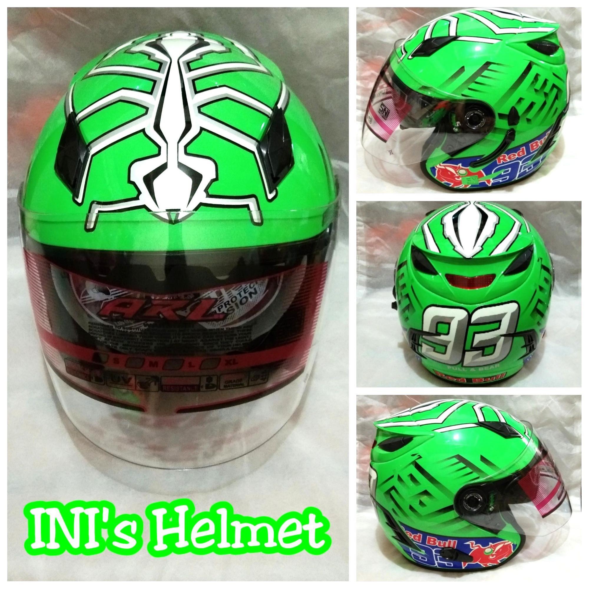 Helm Double Visor (2 Kaca) ARL Motif Hijau Monster - Helm SNI