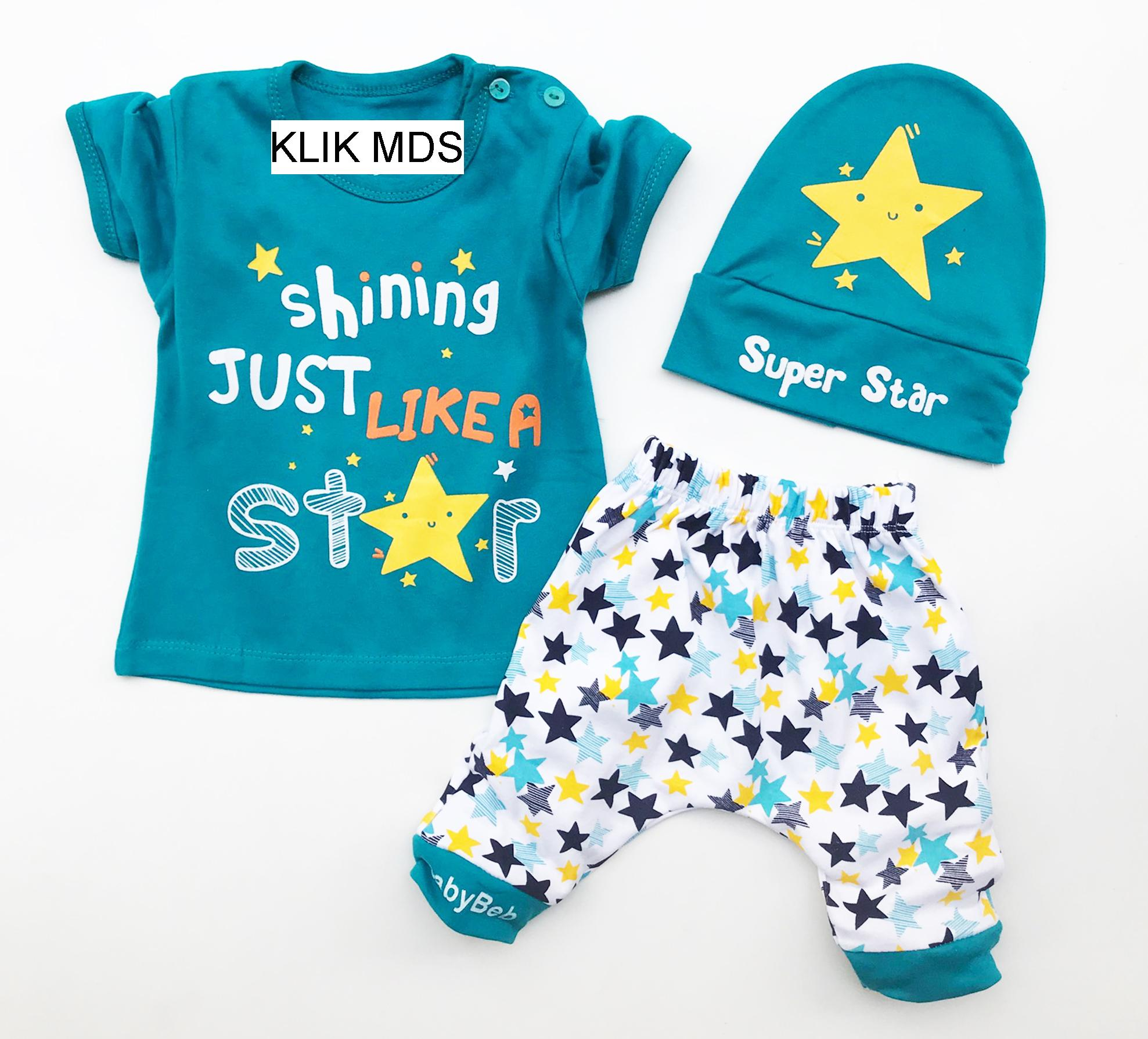 Pakaian Bayi Laki Baju Karakter Klik Mds Anak Setelan Atasan Dan Celana Motif Shining Just Like A Star