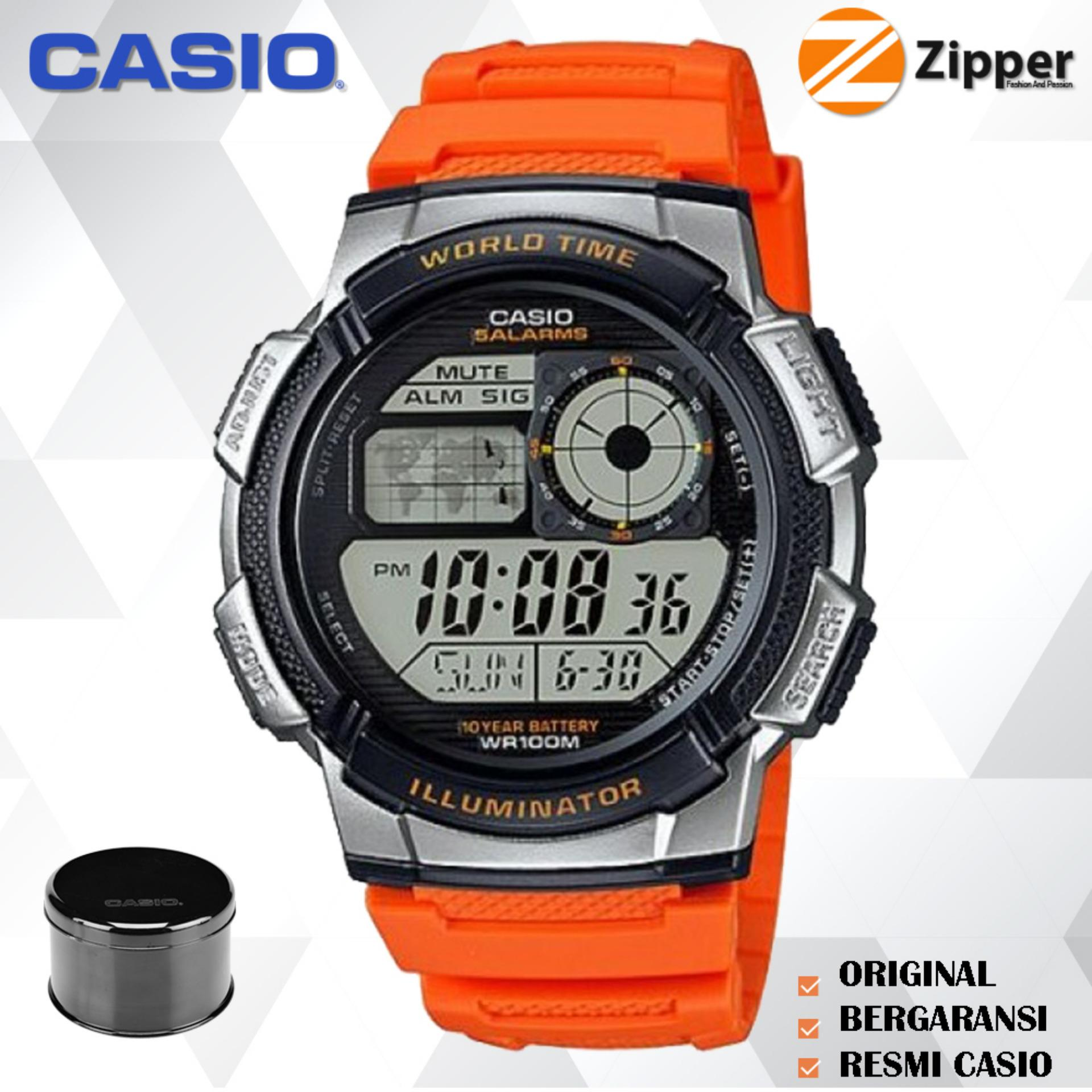 Casio Illuminator Jam Tangan Digital Men and Women AE-1000W Youth Series - Tali Karet
