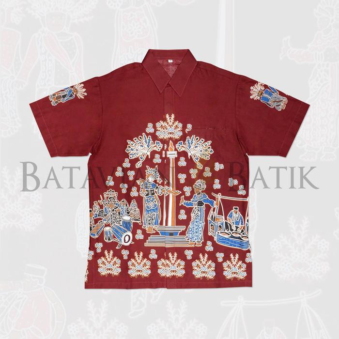 Popularitas Terlaris Kemeja Batik Betawi Lengan Pendek   Maroon