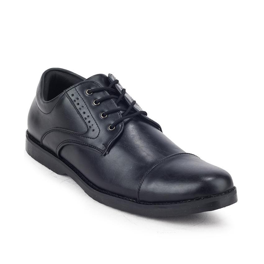 Sepatu Tali Formal Kerja Pantofel Kulit Pria Giant Flames Naruna Black