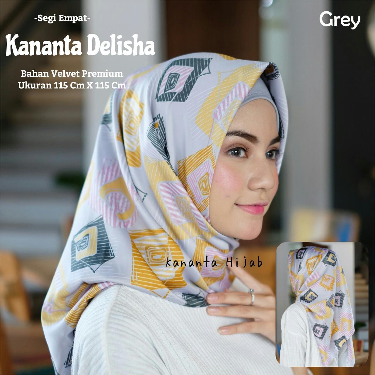 Hijab Segi Empat Motif Abstrak Bahan Velvet Premium KANANTA DELISHA