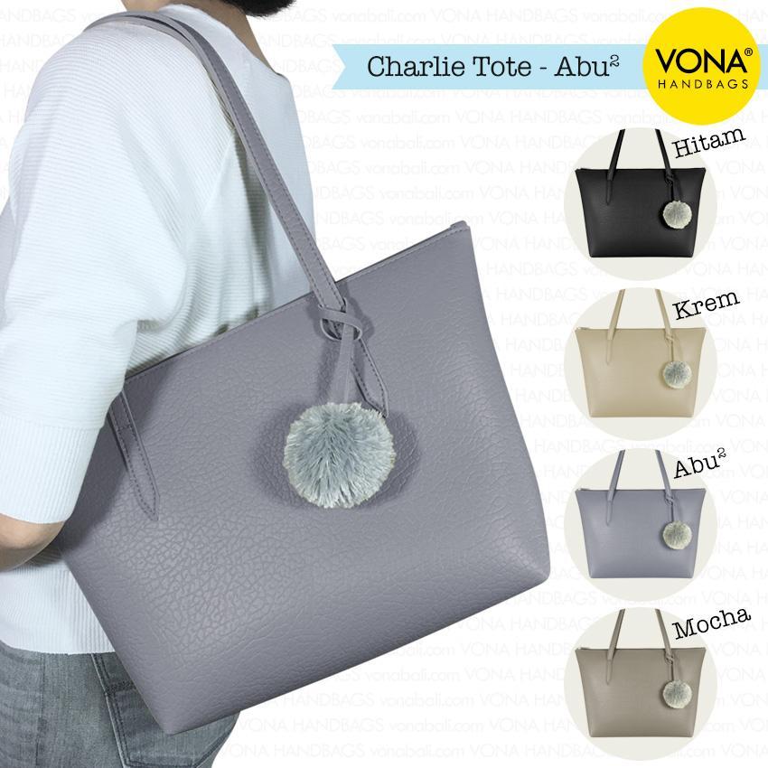 VONA Bags – Charlie – Tas Tote Bahu Pompom Bulu Shoulder Bag Wanita Tangan  Sekolah Kerja Belanja Ladies Shopping Simple Handbag Gendong Remaja Cewek  Tali ... 900f68168d