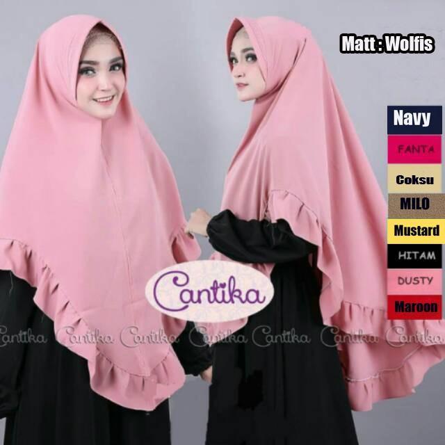 Hijab Khimar Cantika / Grosir Jilbab Instan murah wanita / Gamis Syari Muslim matt wolfis (