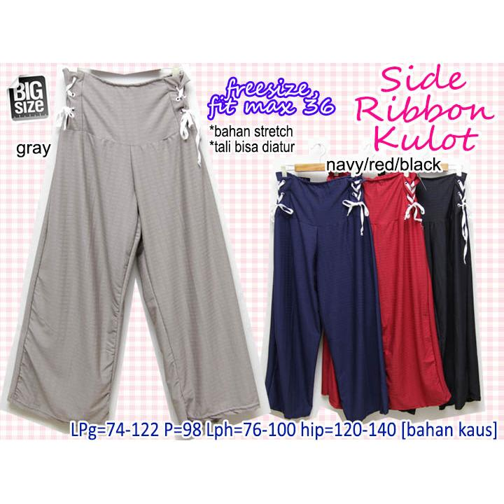 Celana Panjang Wanita Side Ribbon Kulot 36 JUMBO BIG SIZE MURAH