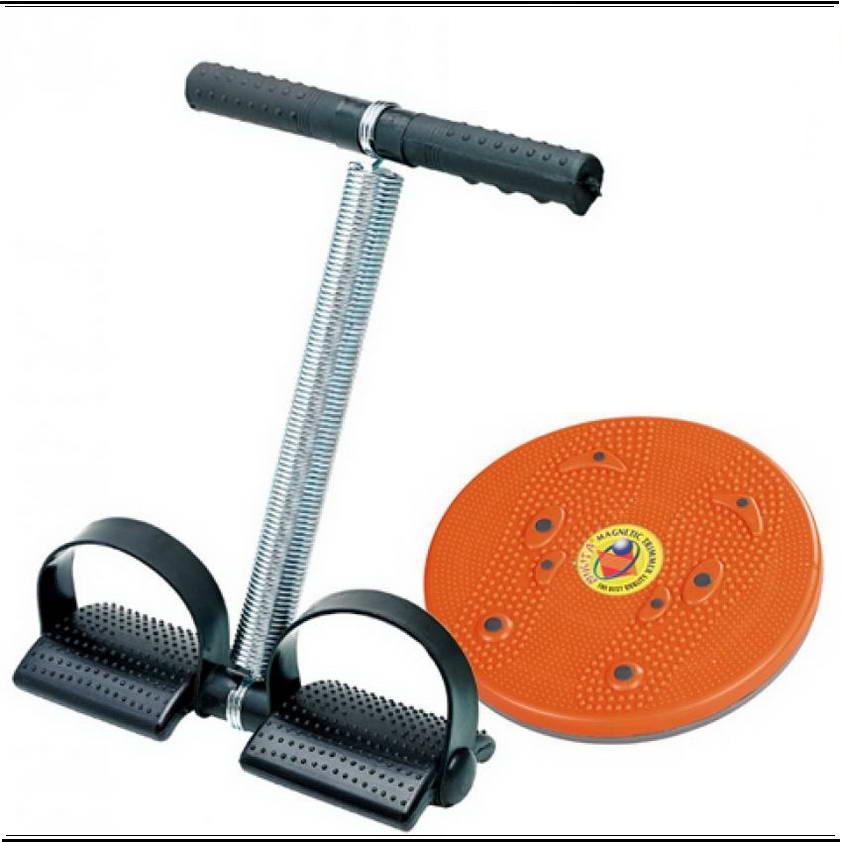 Paket Alat Fitnes Rumah Pelangsing Perut Magnetic Trimmer Jogging Plate dan Tummy Trimer