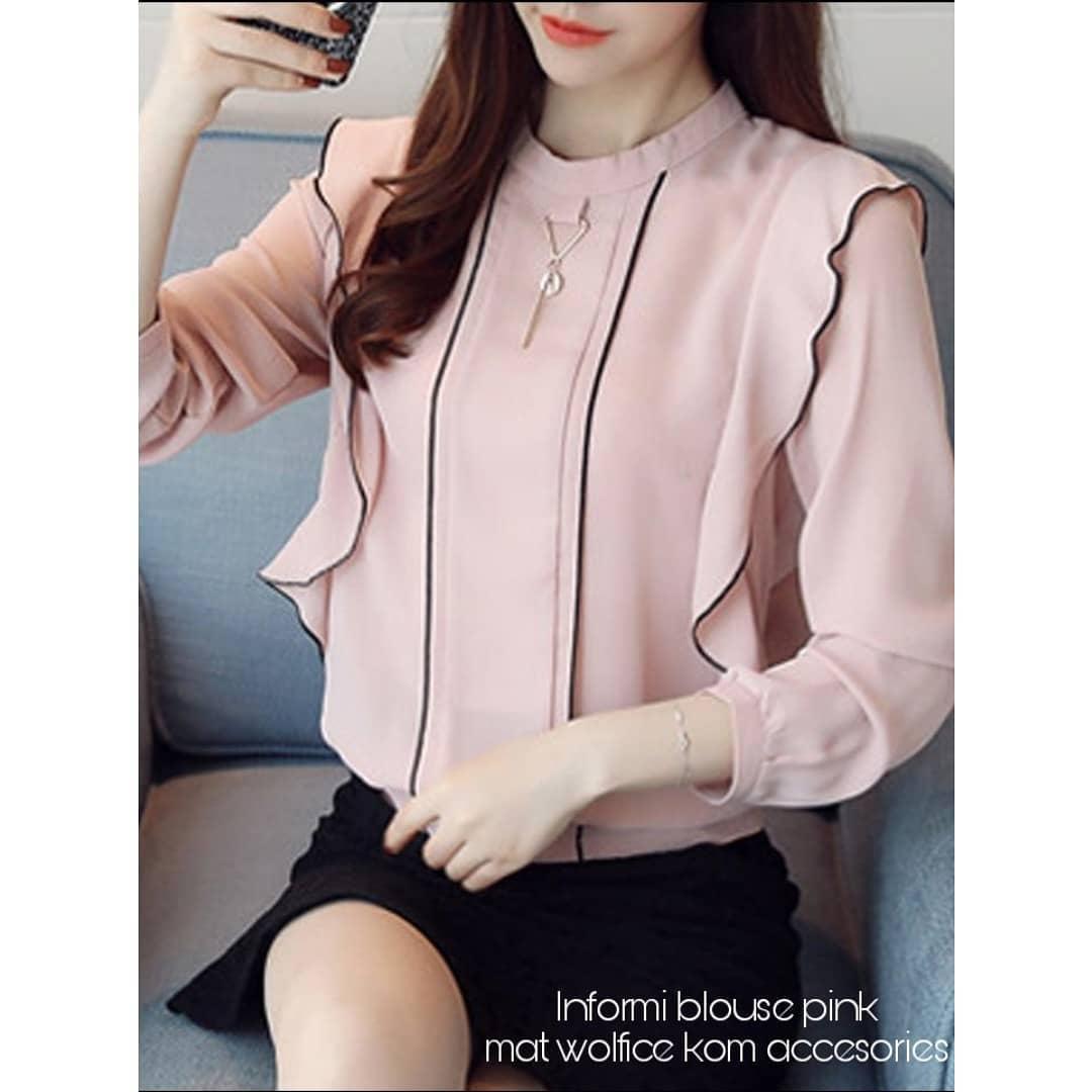 Baju Original Informi Blouse Atasan Wanita Muslim Fashion Terbaru Pakaian Cewek  Lengan Panjang Top Modern Simple Casual 2018