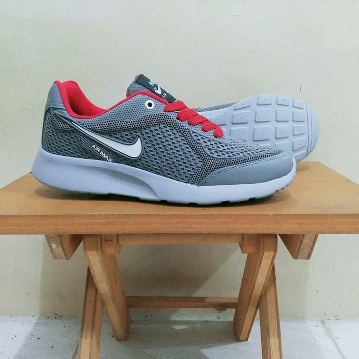 Sepatu Nike Airmax - Running Jogging Gym - Full Abu Kombinasi Merah / Sepatu Sneacker / Sepatu Terlaris / Sepatu Berkualitas / Sepatu Original / Sepatu Running / Sepatu Sekolah / Sepatu Terlaris / Sepatu Kets / Sepatu Sport / Sepatu Olahraga / Sepatu Tren