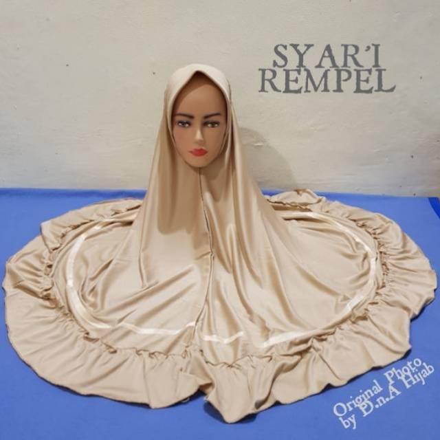 Jilbab Instan Syari Rempel Polos Dengan List / Hijab Rempel Jumbo (1-3 pcs)