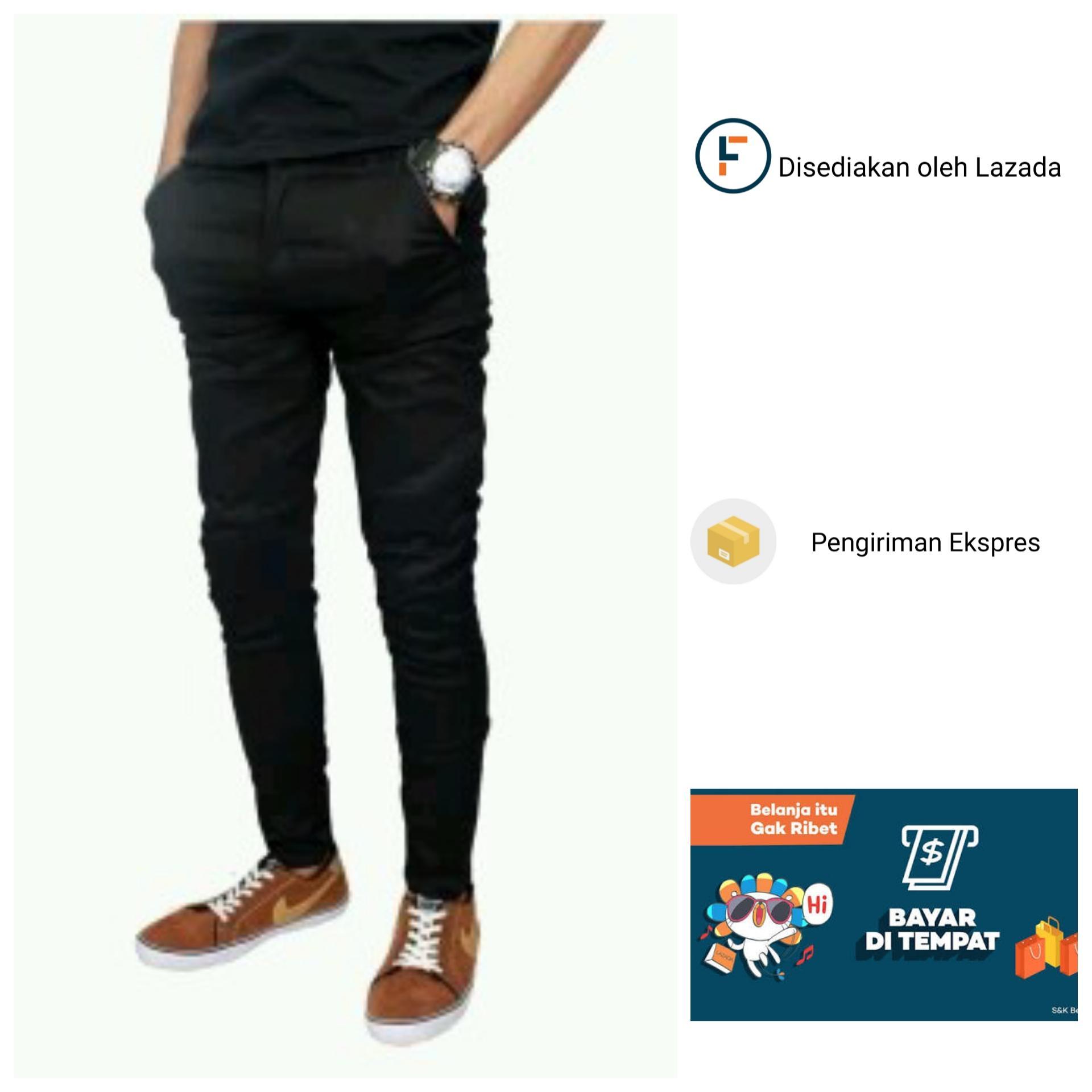 Pakaian Pria Lgs Slim Fit Kemeja Fashion Biru Muda Denim Polos S