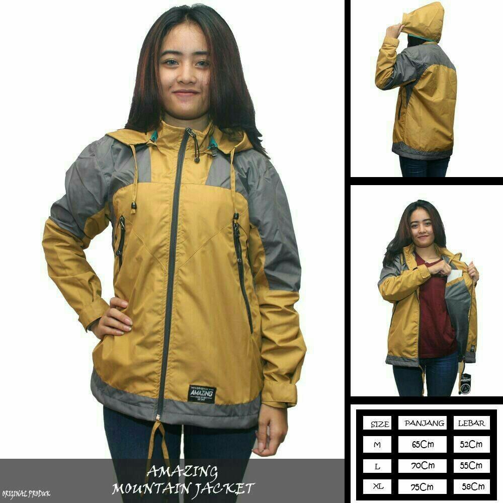 Jaket Parasut Wanita   Jaket hoodie Kuning   Jaket Motor   Jaket Gunung  wanita   Anti 6cfe541bfb