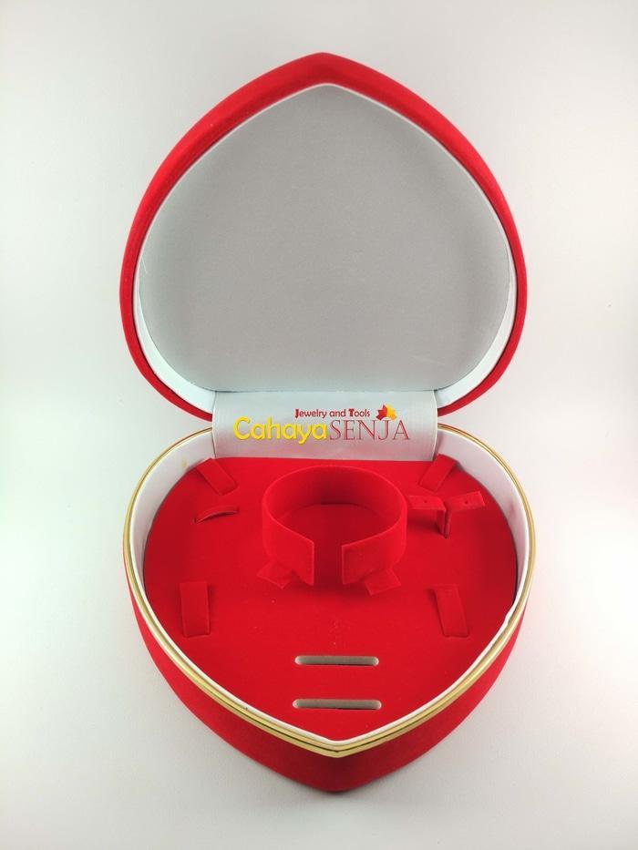 SALE - set Kotak Perhiasan Bludru Anting, Gelang, Kalung & Cincin Bentuk Love Import
