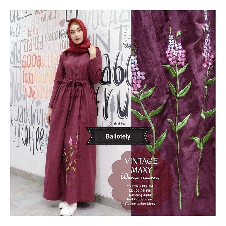 Baju Muslim ML Vintage Maxy Dress Panjang Hijab Casual Pakaian Wanita Terbaru Fasionable Trendy Original Terupdate