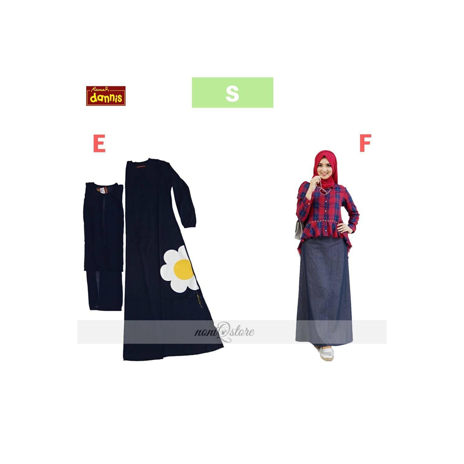 Abaya Dewasa DANNIS Size S Gamis Ibu Setelan Dewasa Baju Muslim 01 02