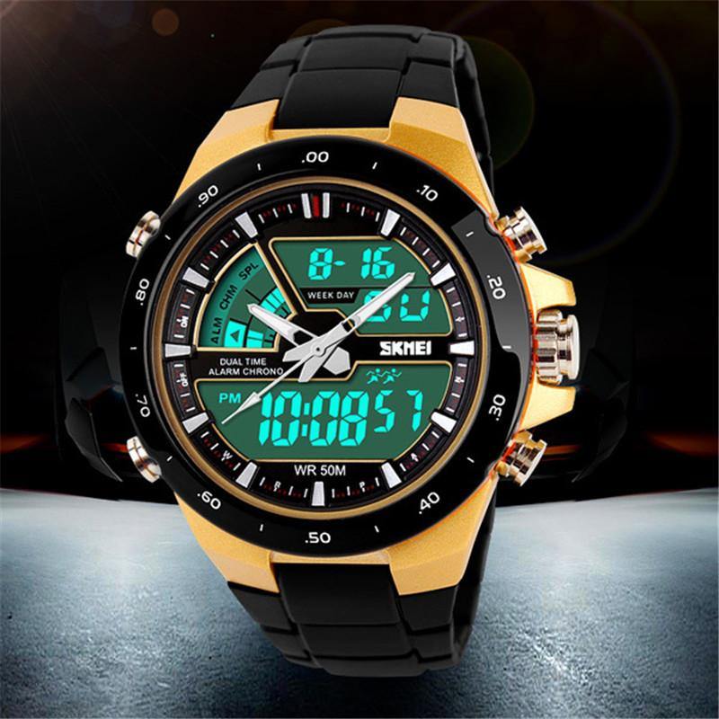 SKMEI Dual Time AD1016 Jam Tangan Pria Digital Analog Watch Water Resistant Anti Air 50m Strap Mika Fashion Trendy Design Best Seller Original - Hitam