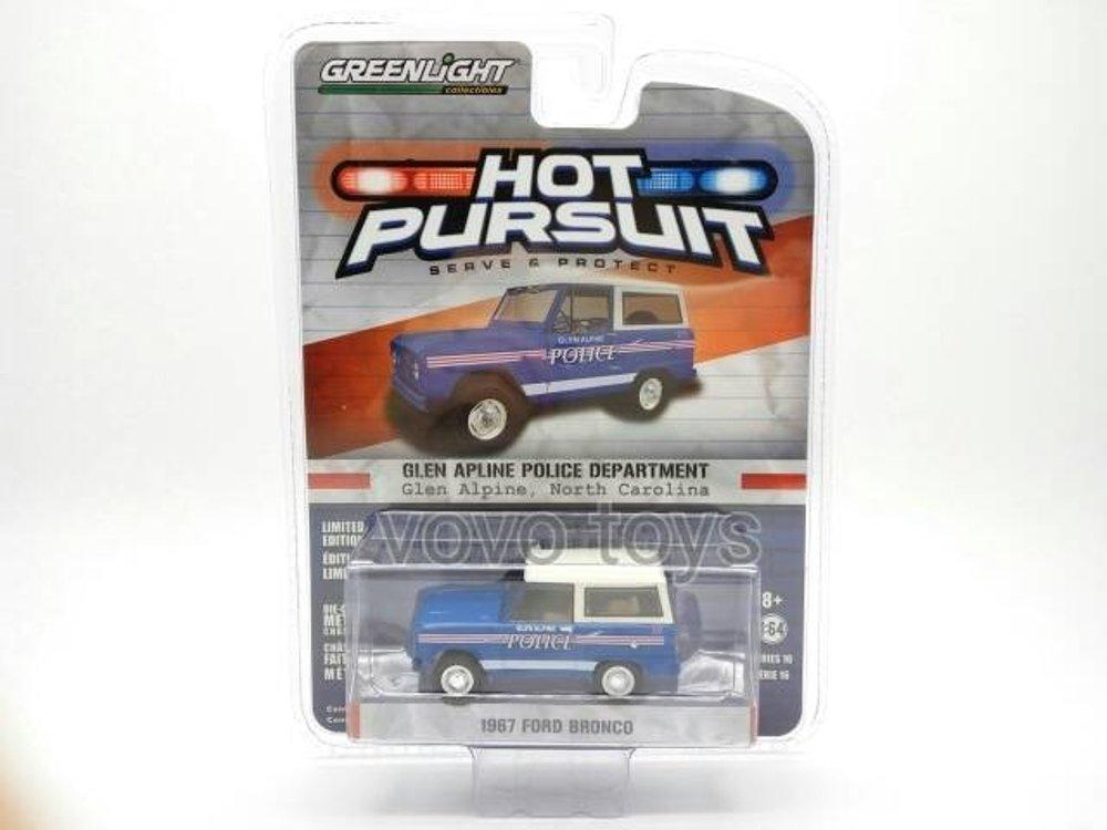 Greenlight Hot Pursuit Skala 64 1967 Ford Bronco Glen Alpine North Carolina Police  # Vovo Toys vov