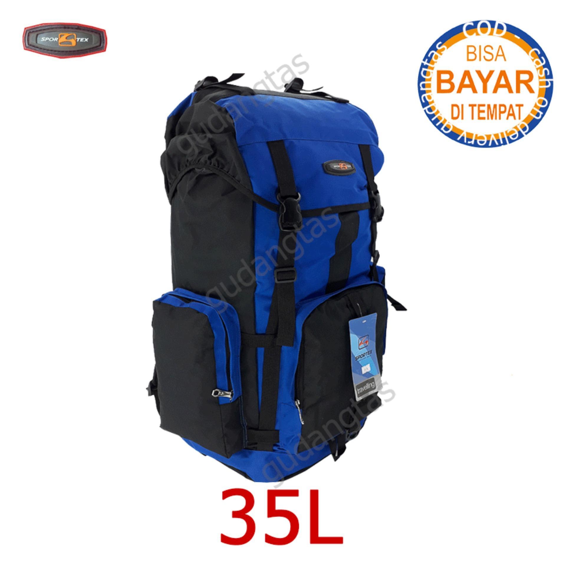Sportex Tas Ransel Gunung Tas Keril Tas Carrier 35L Tas Camping Tas Hiking  30L0883 BIRU TERANG kombinasi hitam Backpack Sport Outdoor