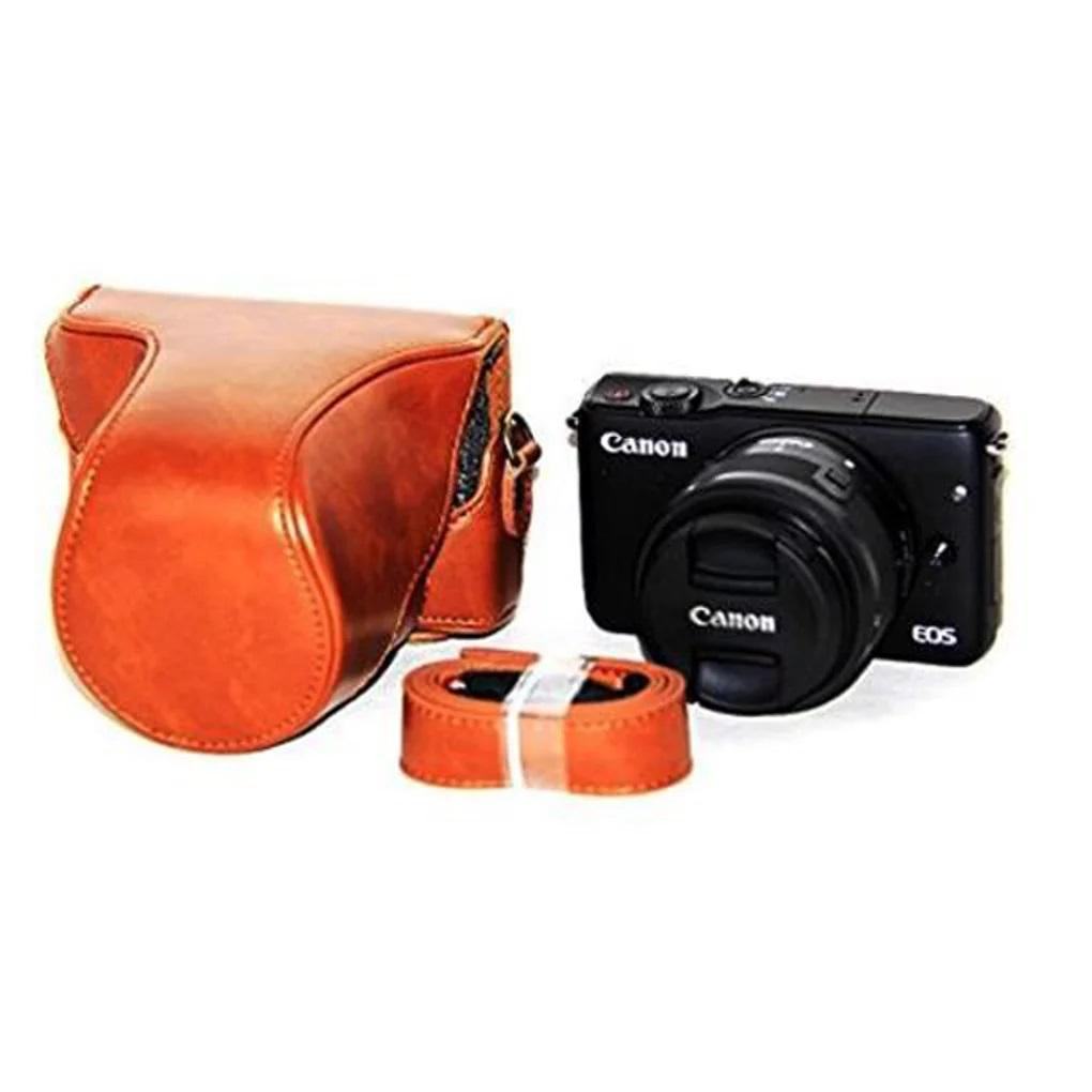 Leather Case For Canon Eos M10 Kit 15-45mm - Cokelat