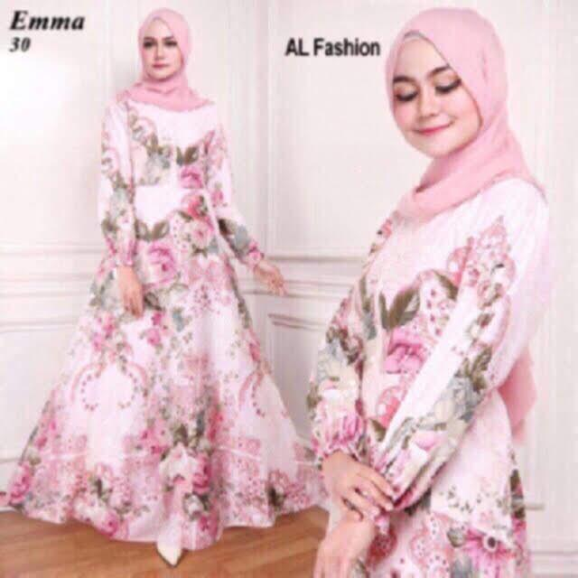 Shinju Fashion Long Dress Muslim Flower (4 Warna)