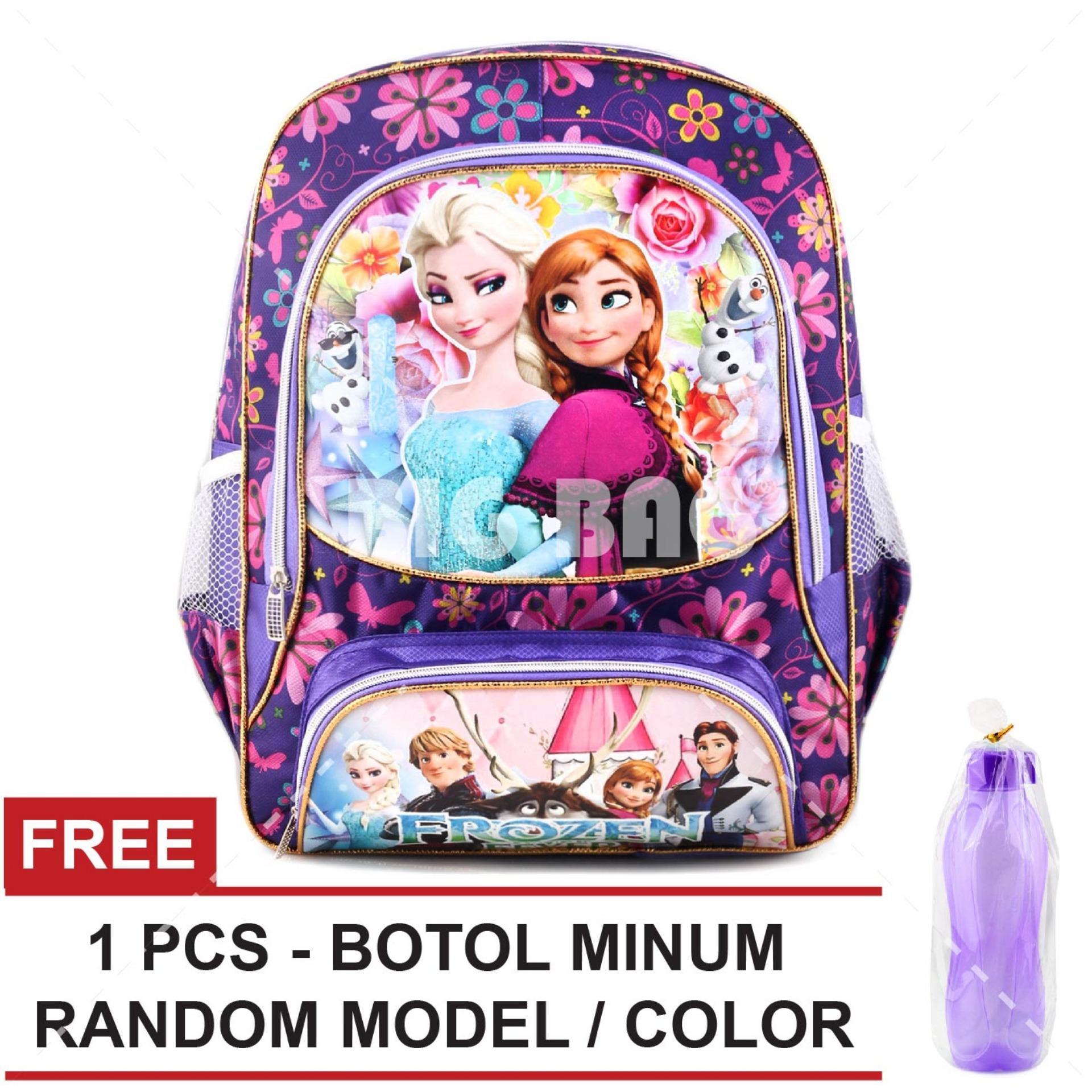 Tas Ransel Anak - Frozen Anna Elsa - True Love - School Bag Tas Sekolah Anak - PURPLE + FREE Botol Minum  Random Color / Model Tas Anak Tas Sekolah Tas Anak Karakter
