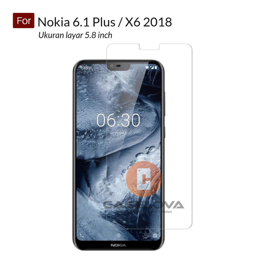 Tempered Glass Screen Protector Anti Gores Kaca Nokia 6.1 Plus ( X6 ) Ukuran layar 5.8 inch - Clear