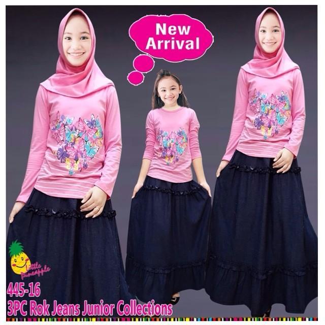 little pineapple setelan kaos rok flower Strip hijab anak 6-11Y