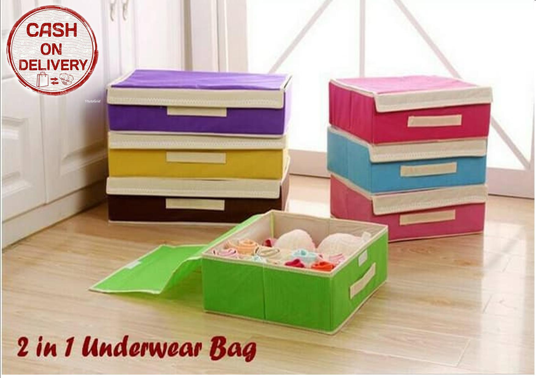 Kado Unik 2 in 1 Underwear Bag Organizer Tempat Penyimpanan Bra Dan Celana Dalam Storage Box Tempat Pakaian Dalam Kotak Penyimpanaimpanan