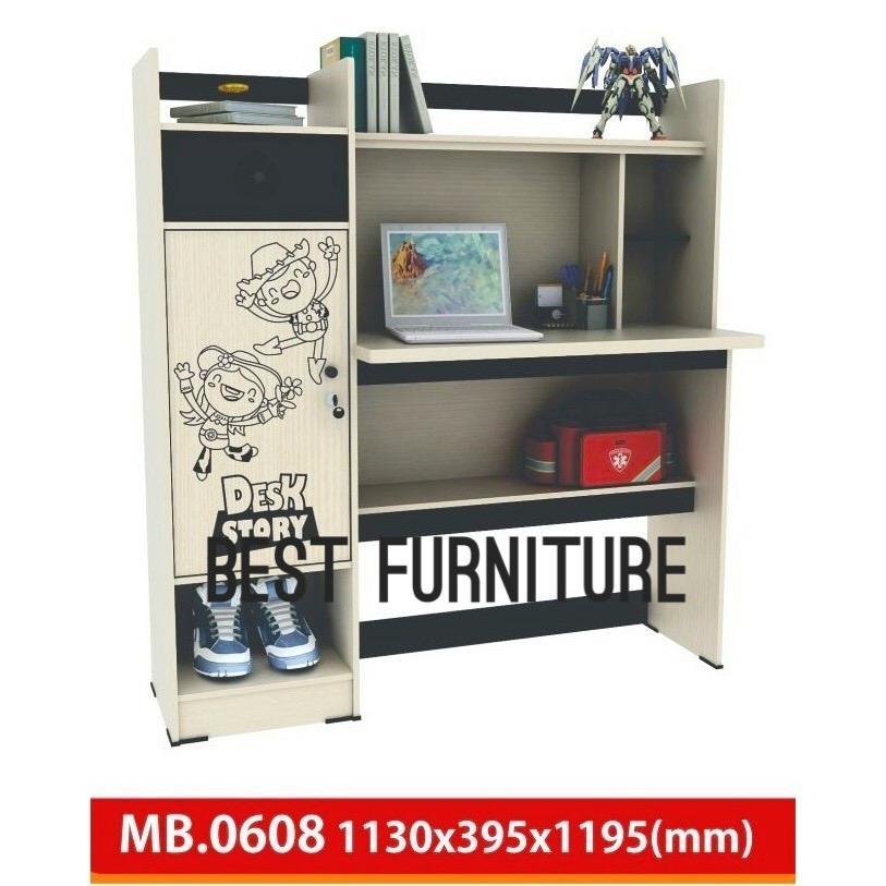 Best RC MB0608 Meja Belajar Anak Dengan Rak dan lemari Serbaguna  uk 115x120 cm