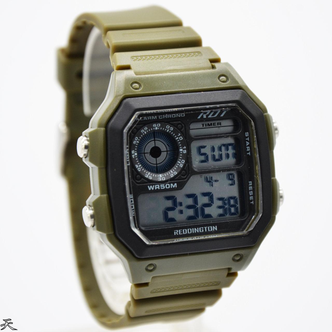 Jam Tangan Pria Reddington Digital RD6099 D39H90HJUARM - Rubber Strap - Hijau Army