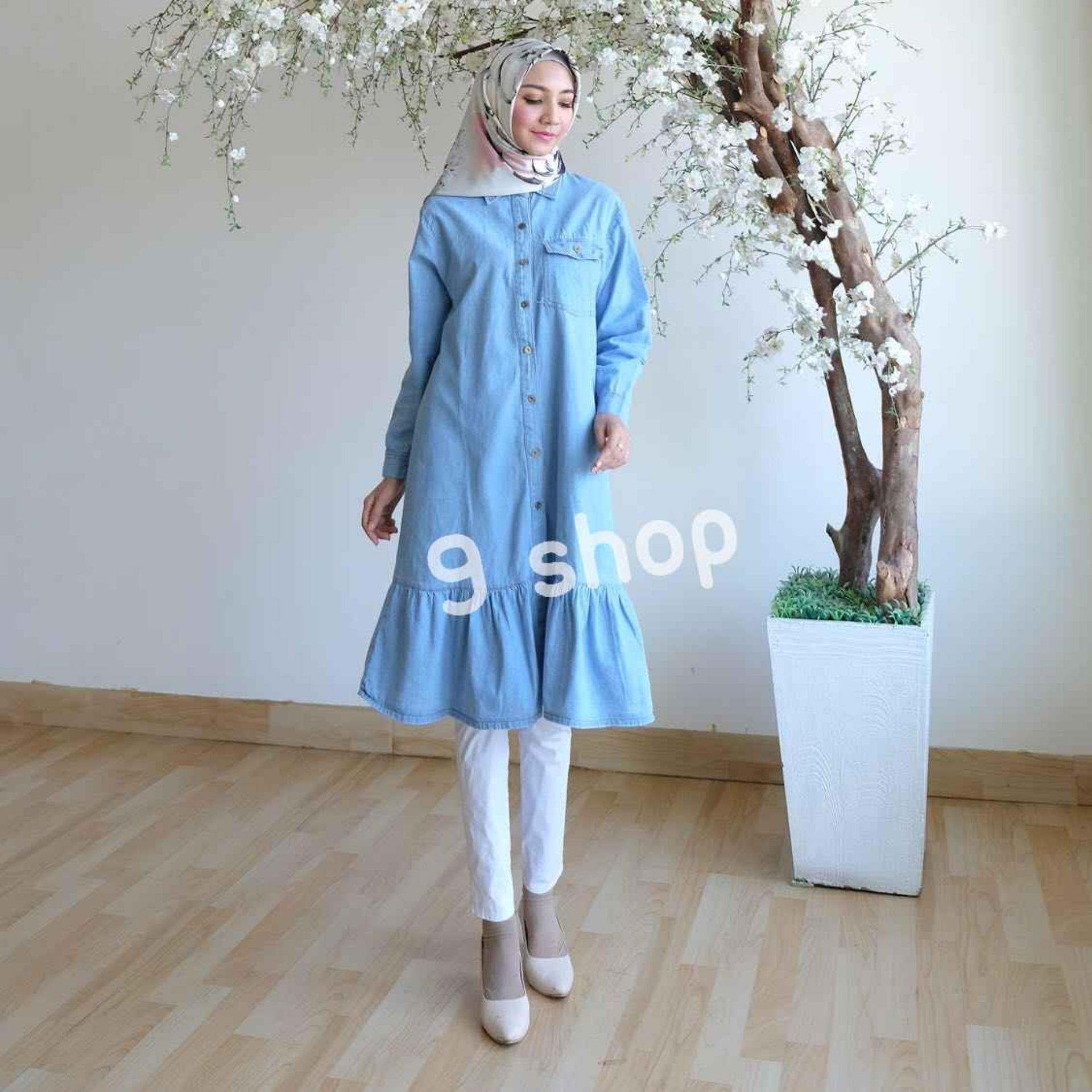 9 Shop Kemeja Tunik Denim Jeans Wanita Lengan Panjang DINE ( Tanpa Pasmina) / Atasan Muslimah / Kemeja Kerja Wanita / Baju Muslim Wanita / Kemeja Casual Wanita / Atasan Wanita / Tunik Murah / Tunik Denim Murah / Tunik Jeans / Kemeja Denim Wanita /