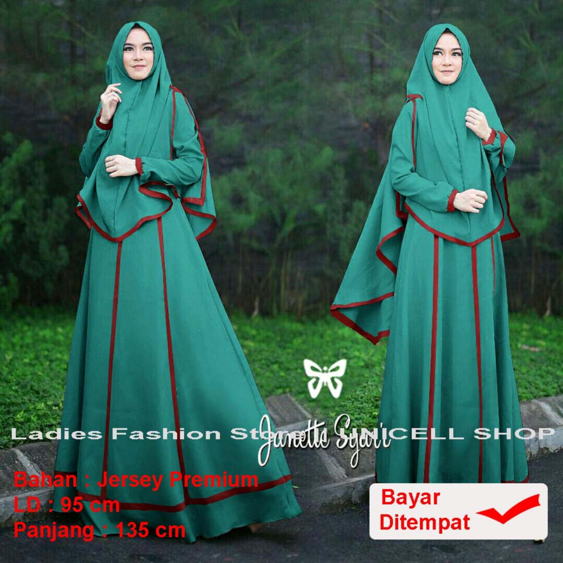 UC Dress Gamis Muslim Imelda / Gamis Muslim Syari Syar'i Fashion Maxi / Syari Simple Elegant / Baju Muslim Wanita Lebaran 2018 (nettaja) SS - Tosca