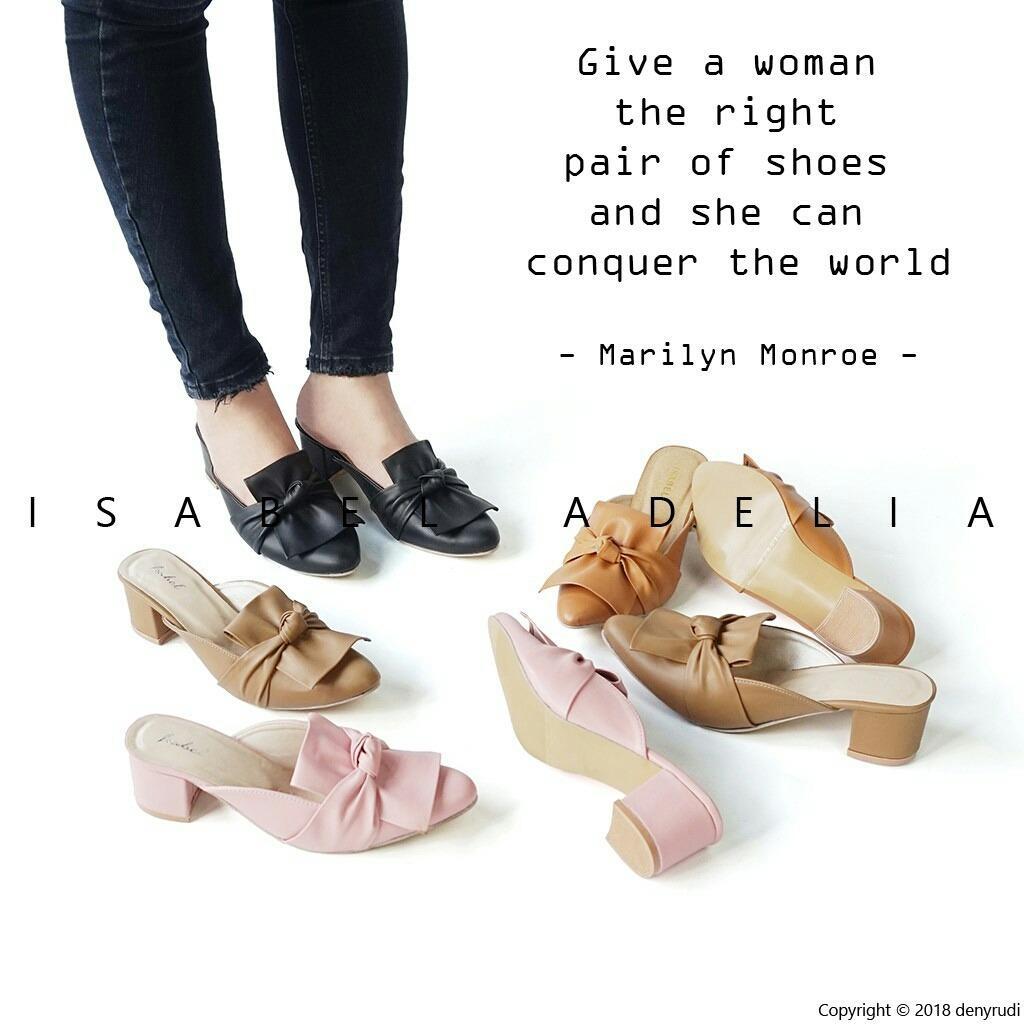 sepatu selop wanita pita ikat hak tahu high heels murah helen shop