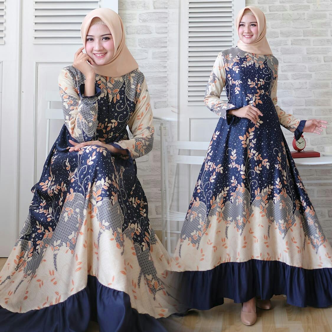 Gamis Modern Brand Syari Baju Muslim Gina Maxi Dress Naswa Umbrella Real Pict Navy