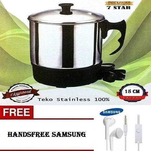 PREMIUM Teko Pemanas Air 7STAR Mug Listrik 15 Cm / Panci Listrik Stainless Steel 15 Cm + Gratis Headset Samsung Untuk Semua HP 1Pcs