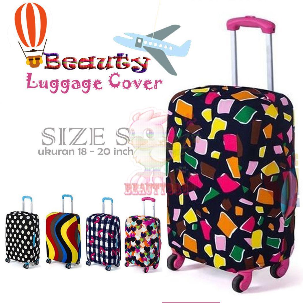Beauty ( BONUS POUCH PENYIMPANAN ) Koper Cover Fabric Stretchable Luggage Cover Pelindung Dustproof untuk 18