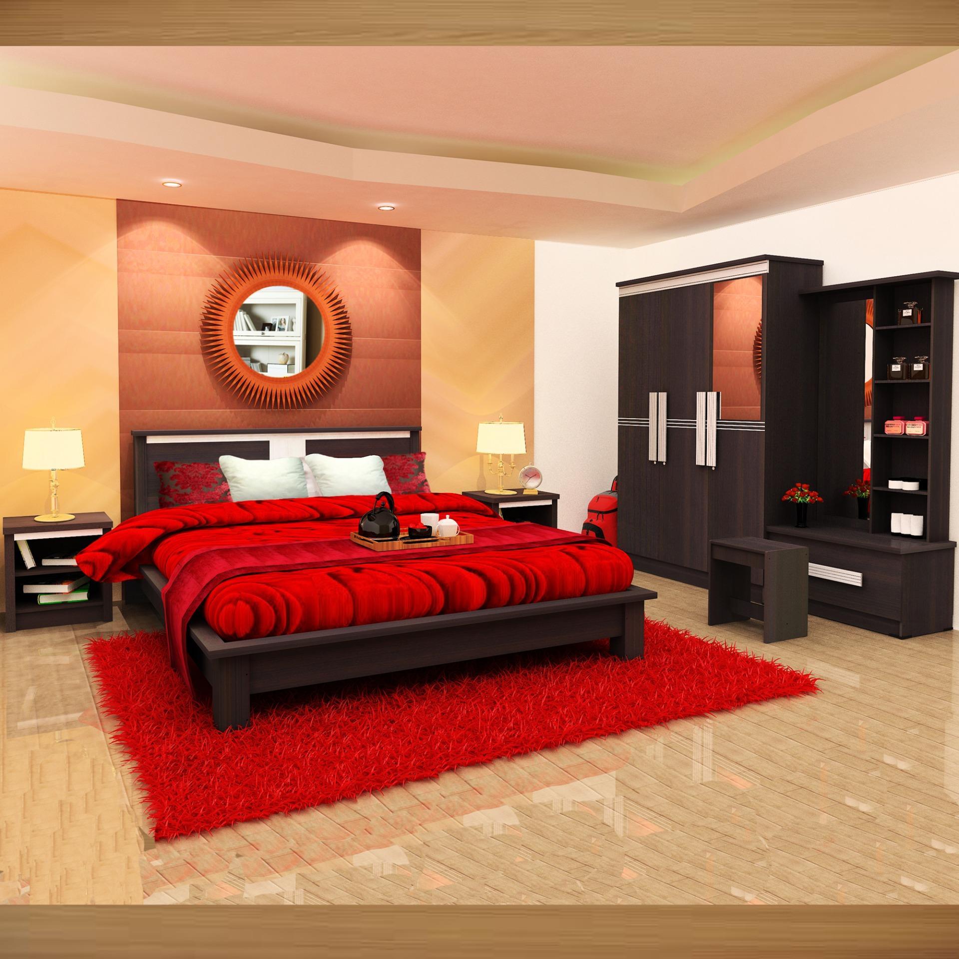 Lemari Pakaian Ranjang Nakas Meja Rias Bedroom Set Red