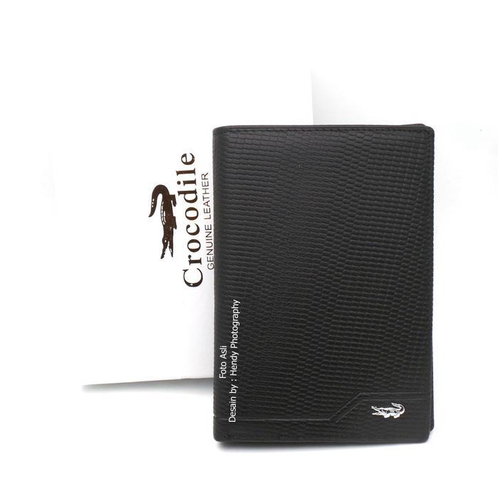 Dompet tanggung kulit asli murah terbaik - CROCODILE SGUA - 4 BLACK