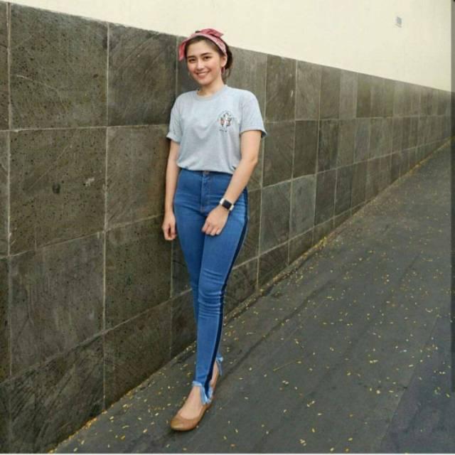 Celana Jeans Wanita Highwaist Stripe Dark Blue Highwaist List Kekinian Highwaist Murah Tanah Abang 0