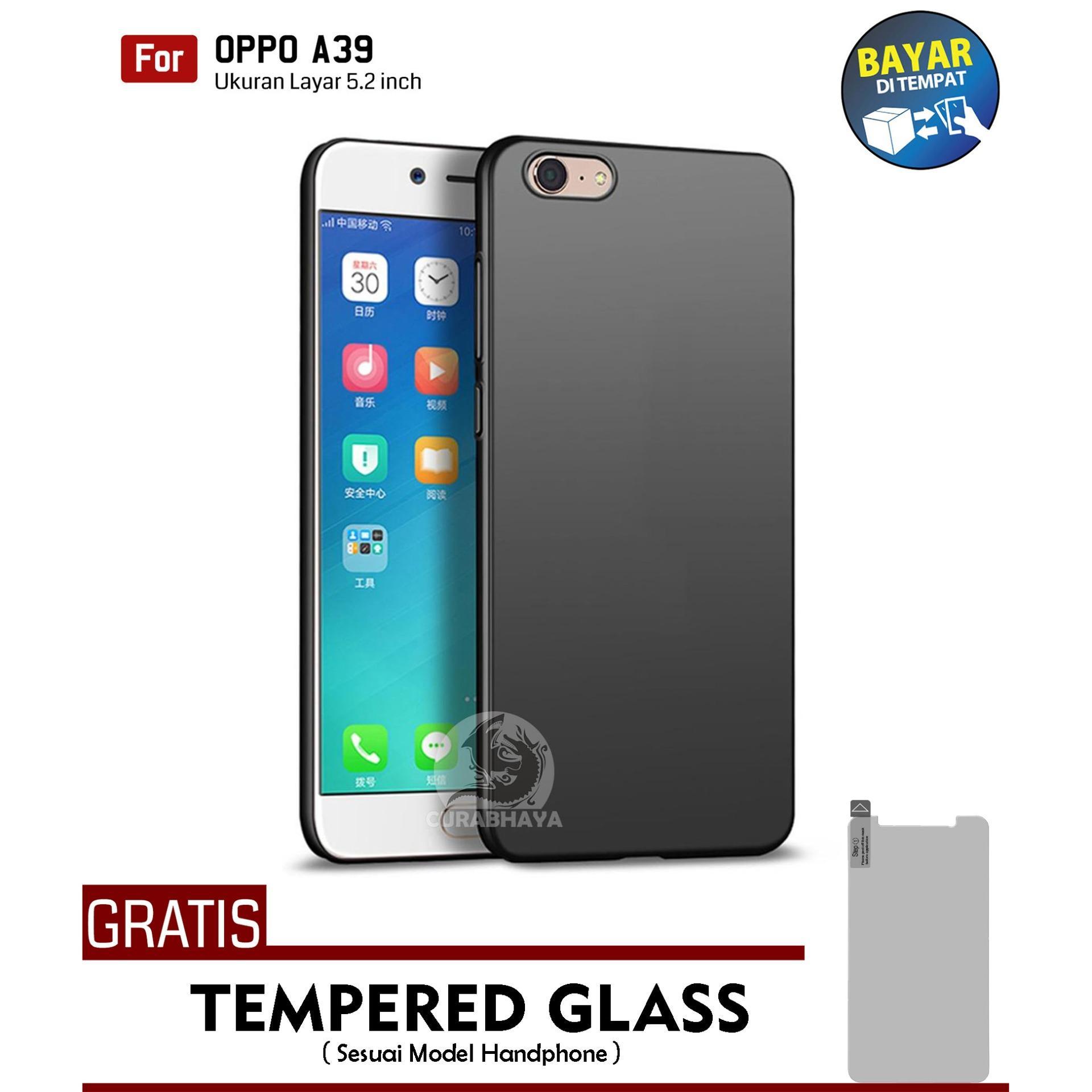 MidNight Oppo A39   Slim Case Black Matte Softcase Premium Baby Skin + Gratis Free Tempered
