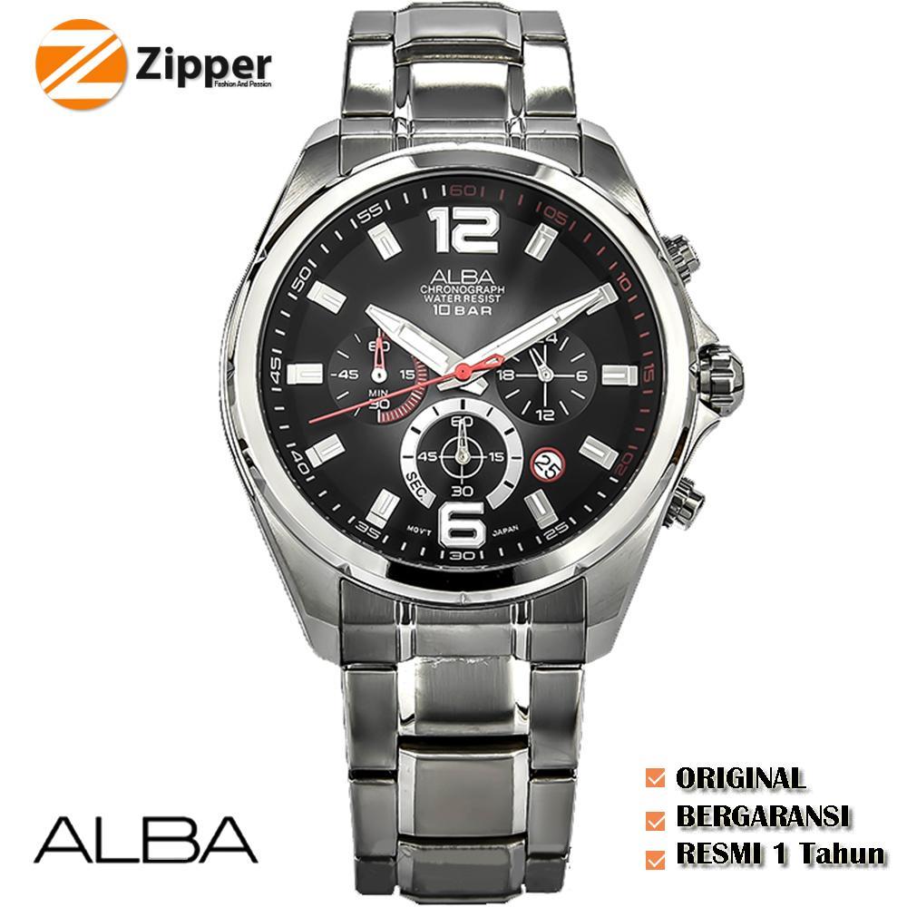 ALBA Chronograph Jam Tangan Pria Tali Rantai Stainless Steel Quartz Movement - jam Tangan ALBA AT3B