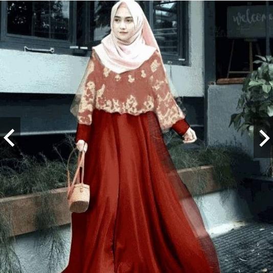 TotallyGreatShop Gamis Pesta Modern Brukat Renda Gold Princess - Gaun Pesta Party Maxy Dress Wisuda - Fashion Baju Lebaran Kondangan Muslimah Muslim Wanita Terbaru Kekinian Mewah Elegan Glamour Kebaya Modern Brokat Hijaber Hijab Jilbab ihglamour