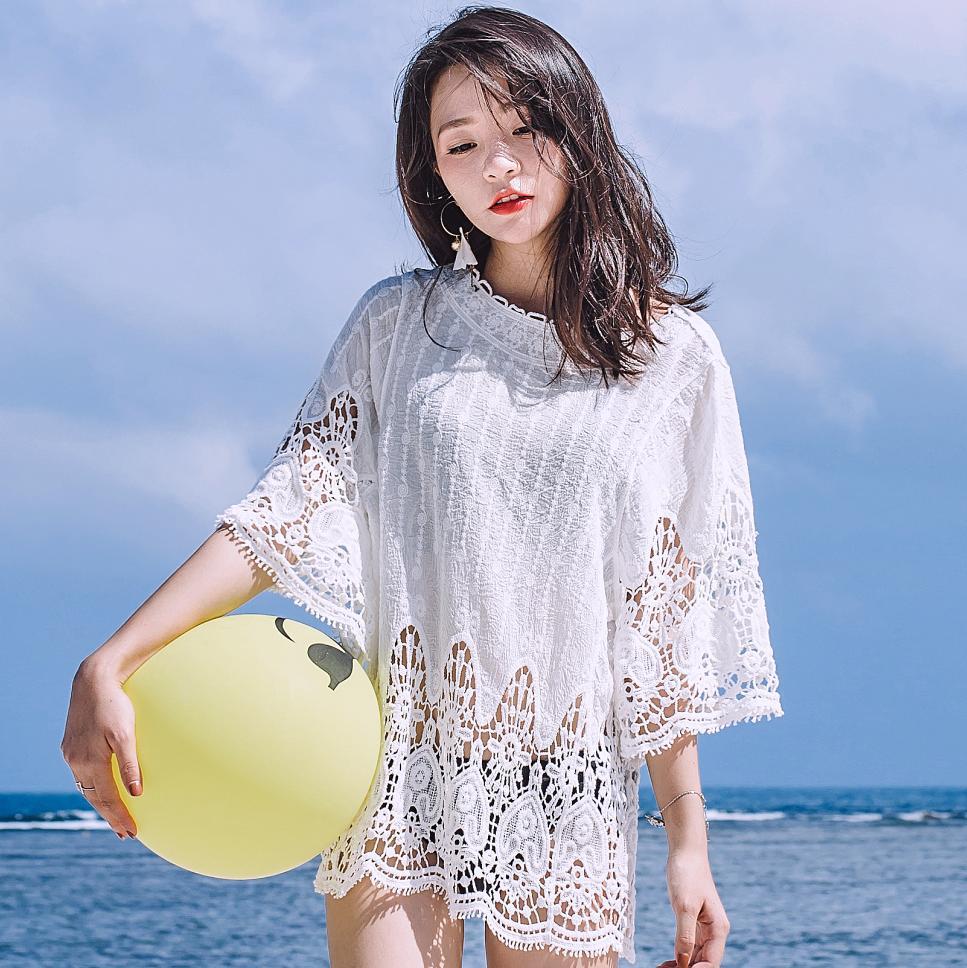 Baju Pelindung Matahari Pantai Bikini Musim Panas Perempuan Pantai (Putih Gambar Warna)