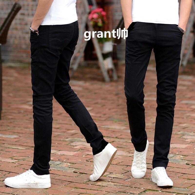 Jeans Musim Semi atau Musim Panas Celana Celana Kasual Putih (Biru Murni Koboi Pria)