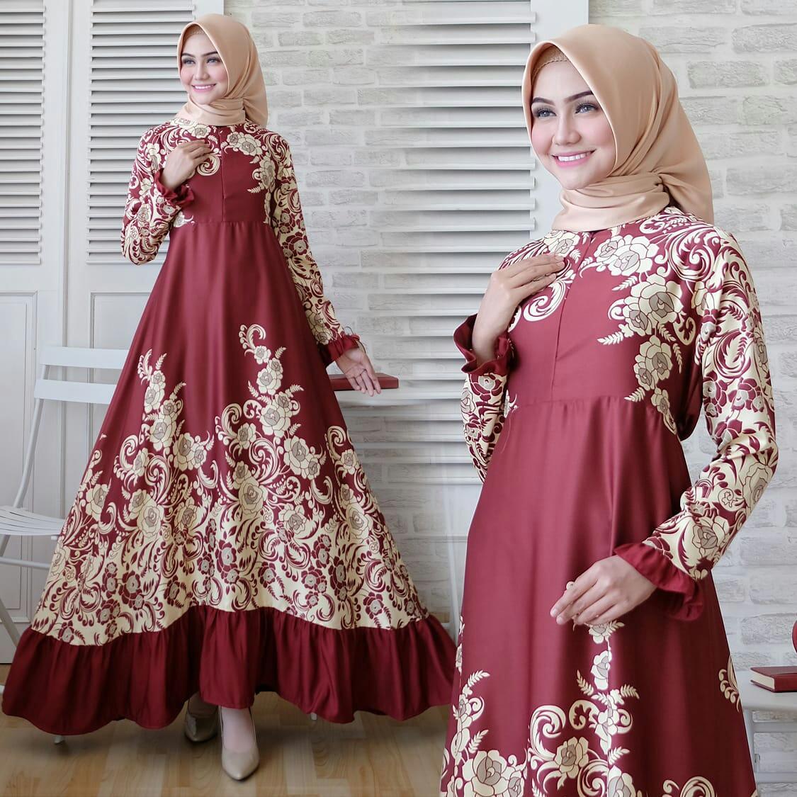 Baju Muslim Wanita Gamis Modern Terbaru Maxi Emma 23 Gamia Model Kekinian Dress Casela Umbrella Syari Real Pict Maroon