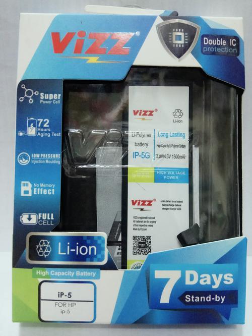 Vizz Baterai Batt Batre Battery Double Power Vizz Apple Iphone 5 dan 5G 1500 mah