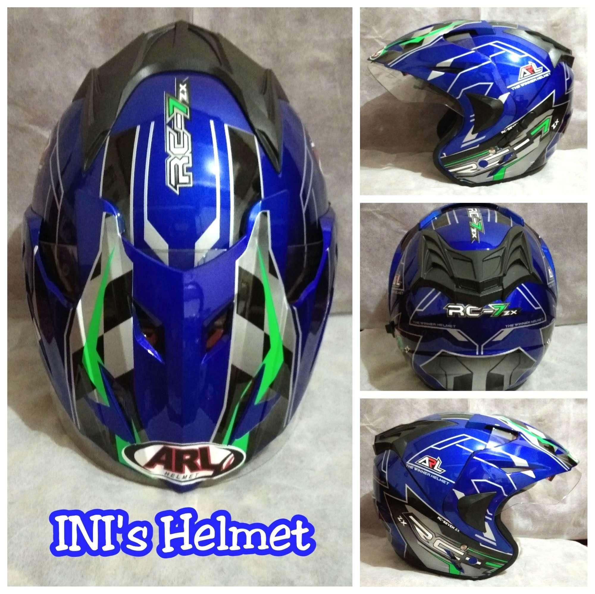 HOT PROMO ! Helm ARL Pet Dewasa Double Visor Murah Motif RC7 Biru - SNI - INIs Mart Jakarta